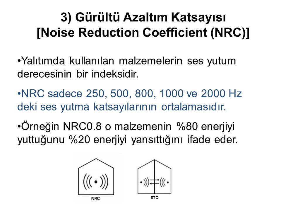 3) Gürültü Azaltım Katsayısı [Noise Reduction Coefficient (NRC)]